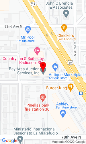 Google Map of Bay Area Auction Services 8010 US19N, Pinellas Park, FL, 33781